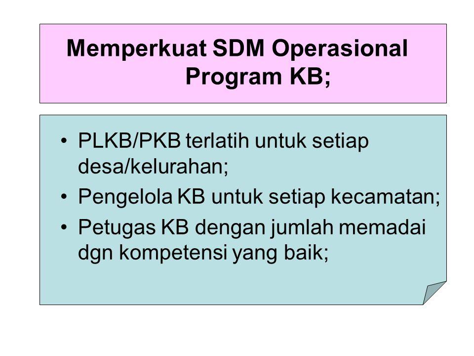 Memperkuat SDM Operasional Program KB; PLKB/PKB terlatih untuk setiap desa/kelurahan; Pengelola KB untuk setiap kecamatan; Petugas KB dengan jumlah me