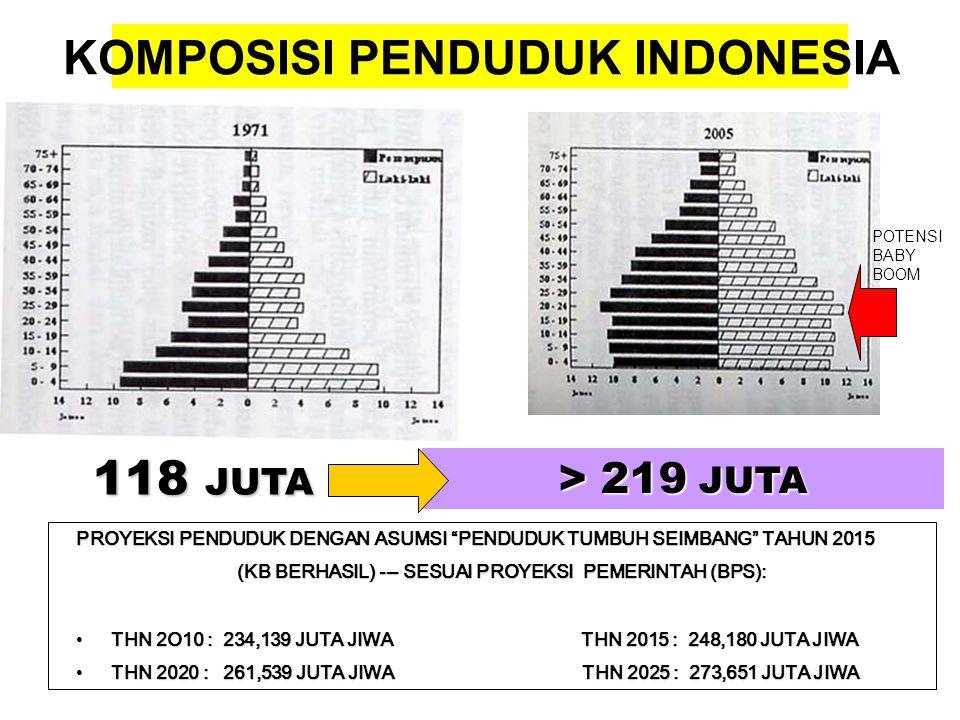"""KOMPOSISI PENDUDUK INDONESIA 118 JUTA > 219 JUTA PROYEKSI PENDUDUK DENGAN ASUMSI """"PENDUDUK TUMBUH SEIMBANG"""" TAHUN 2015 (KB BERHASIL) --- SESUAI PROYEK"""