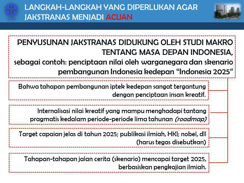 LANGKAH-LANGKAH YANG DIPERLUKAN AGAR JAKSTRANAS MENJADI ACUAN PENYUSUNAN JAKSTRANAS DIDUKUNG OLEH STUDI MAKRO TENTANG MASA DEPAN INDONESIA, sebagai co