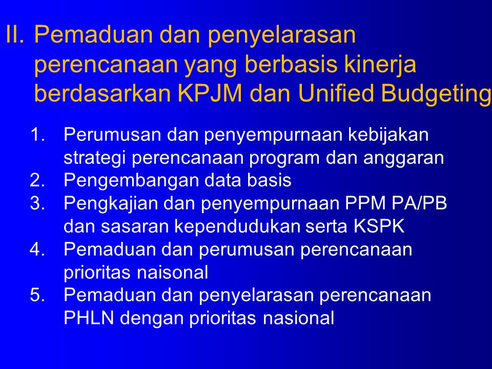 1.Perumusan dan penyempurnaan kebijakan strategi perencanaan program dan anggaran 2.Pengembangan data basis 3.Pengkajian dan penyempurnaan PPM PA/PB d
