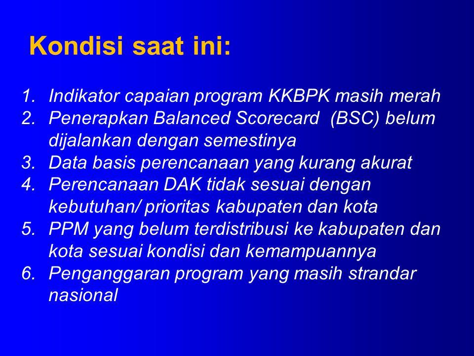 1.Indikator capaian program KKBPK masih merah 2.Penerapkan Balanced Scorecard (BSC) belum dijalankan dengan semestinya 3.Data basis perencanaan yang k