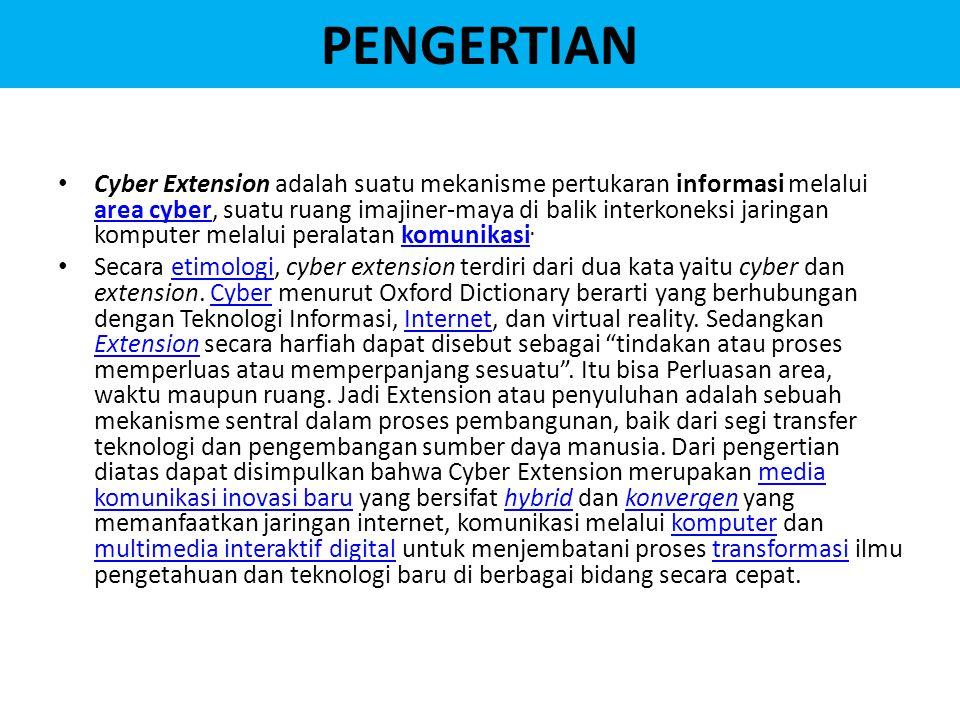 PENGERTIAN Cyber Extension adalah suatu mekanisme pertukaran informasi melalui area cyber, suatu ruang imajiner-maya di balik interkoneksi jaringan komputer melalui peralatan komunikasi.