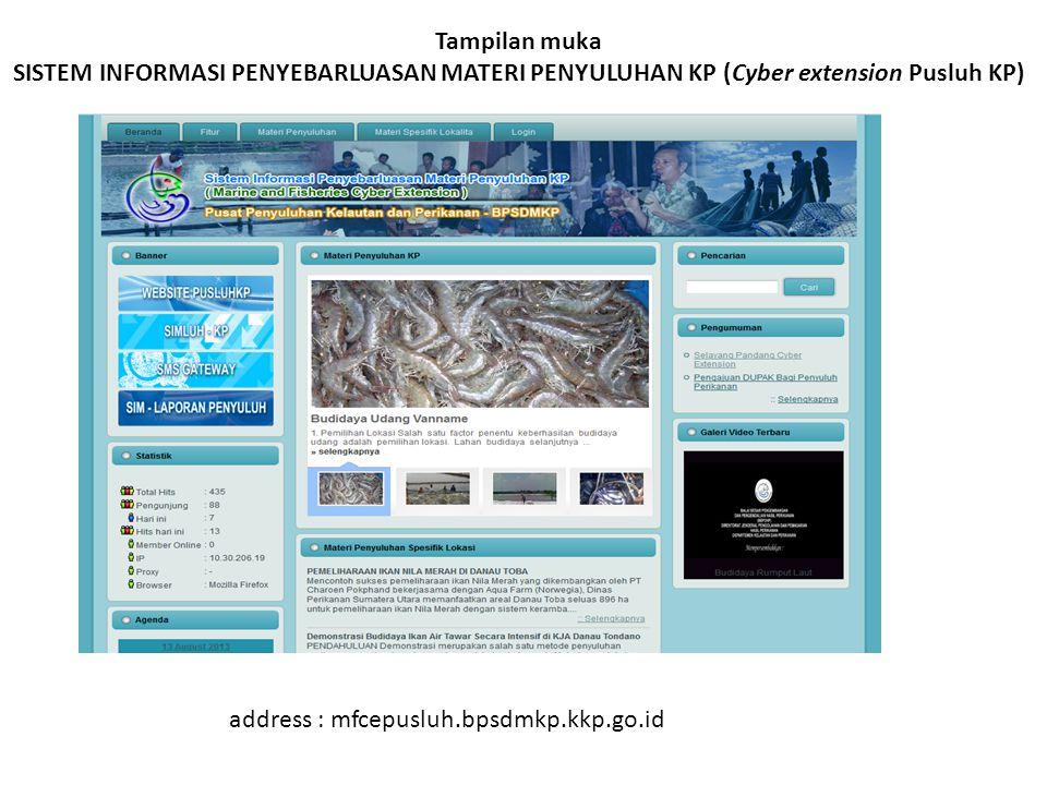 Tampilan muka SISTEM INFORMASI PENYEBARLUASAN MATERI PENYULUHAN KP (Cyber extension Pusluh KP) address : mfcepusluh.bpsdmkp.kkp.go.id
