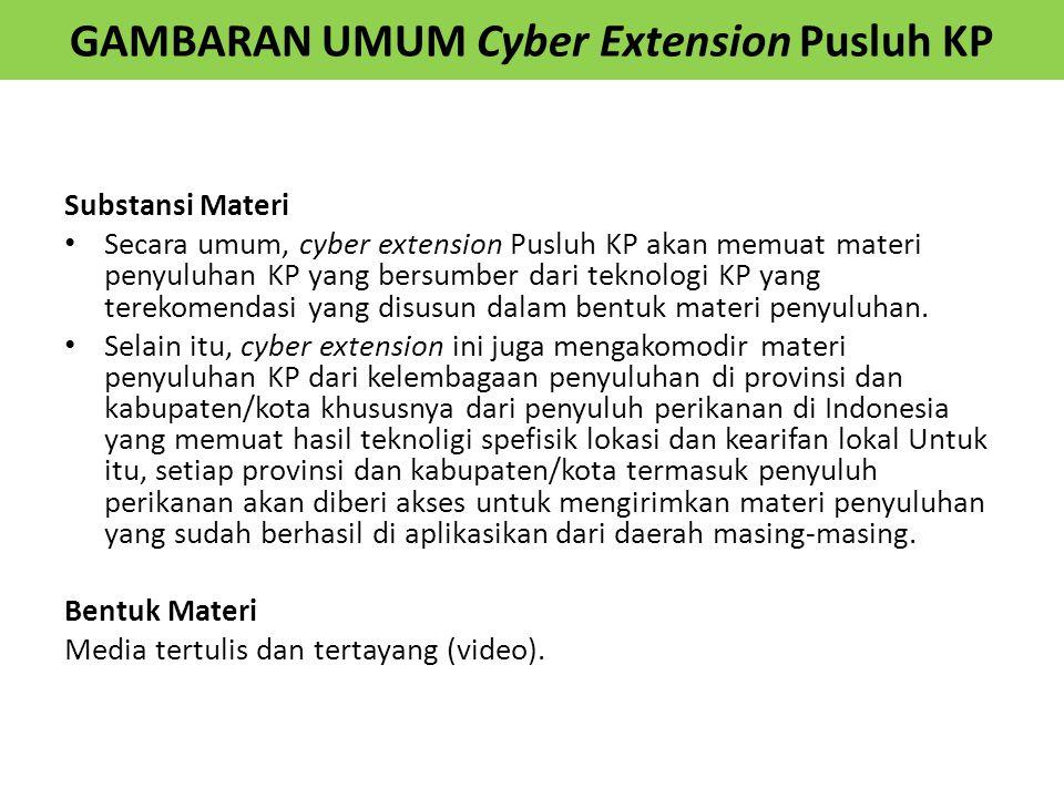 GAMBARAN UMUM Cyber Extension Pusluh KP Substansi Materi Secara umum, cyber extension Pusluh KP akan memuat materi penyuluhan KP yang bersumber dari t