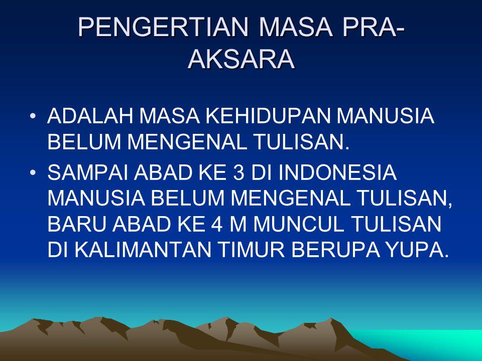PENGERTIAN MASA PRA- AKSARA ADALAH MASA KEHIDUPAN MANUSIA BELUM MENGENAL TULISAN. SAMPAI ABAD KE 3 DI INDONESIA MANUSIA BELUM MENGENAL TULISAN, BARU A