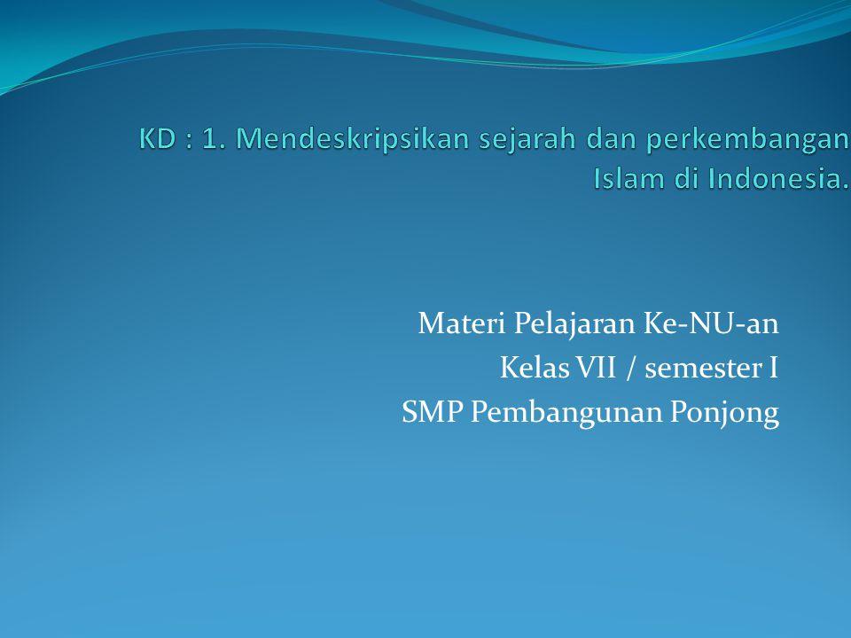 Materi Pelajaran Ke-NU-an Kelas VII / semester I SMP Pembangunan Ponjong
