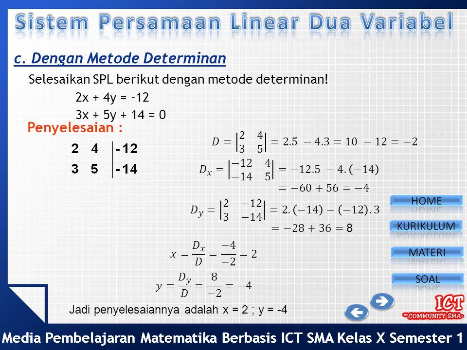 Media Pembelajaran Matematika Berbasis ICT SMA Kelas X Semester 1 b. Dengan Metode Gabungan Subtitusi dan Eliminasi Selesaikan SPL berikut dengan gabu