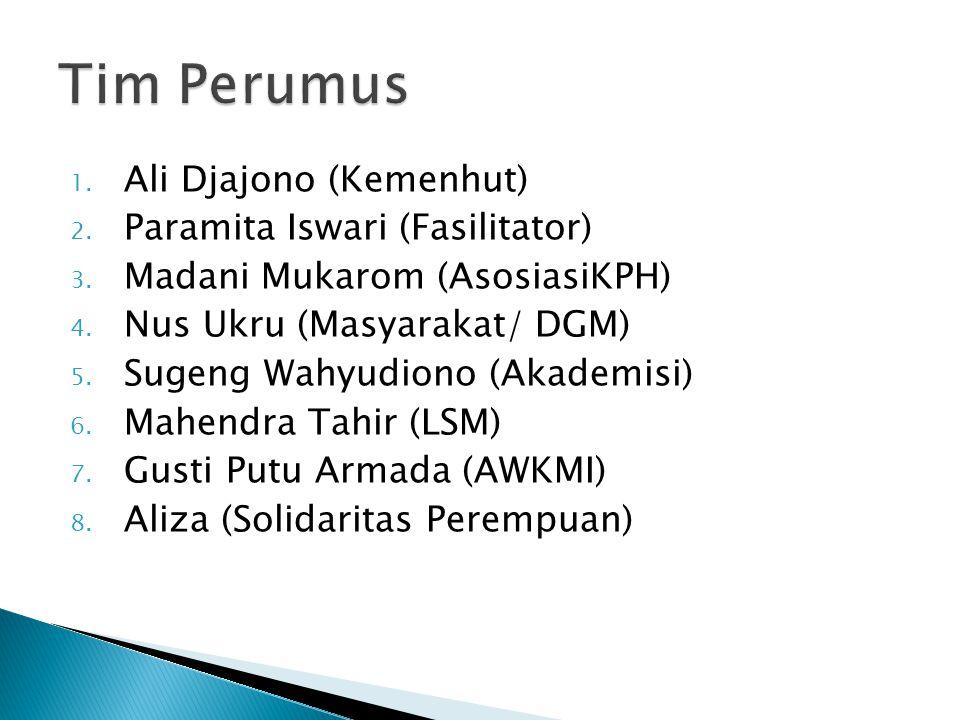 1. Ali Djajono (Kemenhut) 2. Paramita Iswari (Fasilitator) 3.