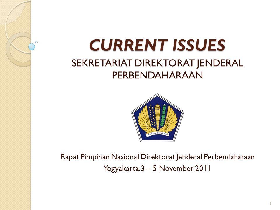 CURRENT ISSUES SEKRETARIAT DIREKTORAT JENDERAL PERBENDAHARAAN 1 Rapat Pimpinan Nasional Direktorat Jenderal Perbendaharaan Yogyakarta, 3 – 5 November