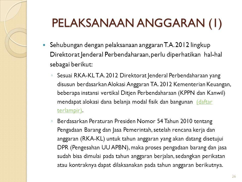 PELAKSANAAN ANGGARAN (1) Sehubungan dengan pelaksanaan anggaran T.A. 2012 lingkup Direktorat Jenderal Perbendaharaan, perlu diperhatikan hal-hal sebag