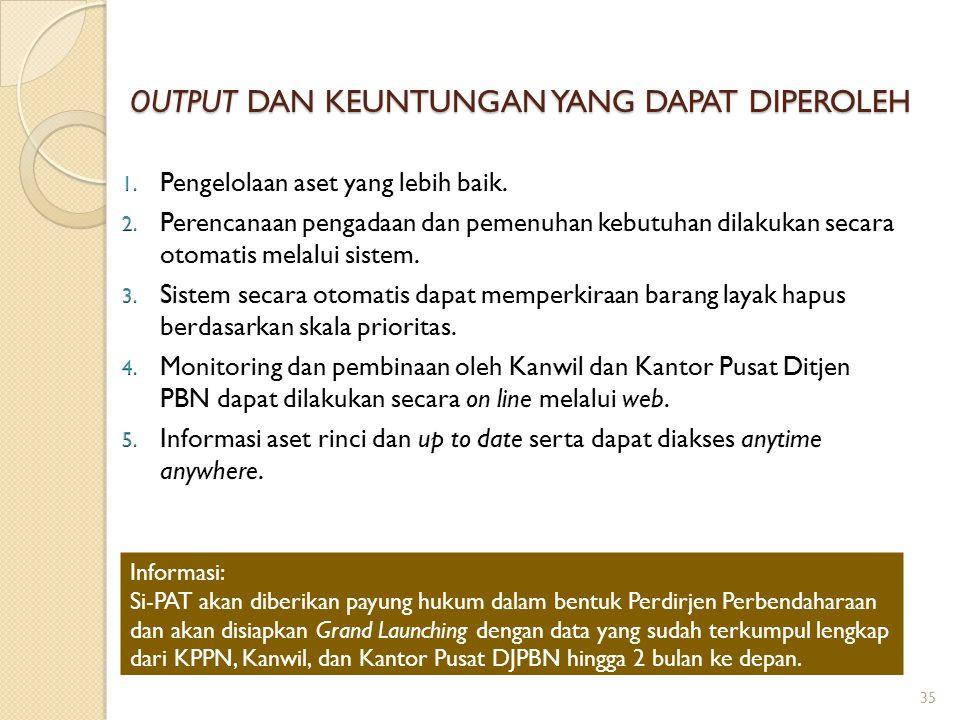 OUTPUT DAN KEUNTUNGAN YANG DAPAT DIPEROLEH 35 Informasi: Si-PAT akan diberikan payung hukum dalam bentuk Perdirjen Perbendaharaan dan akan disiapkan G