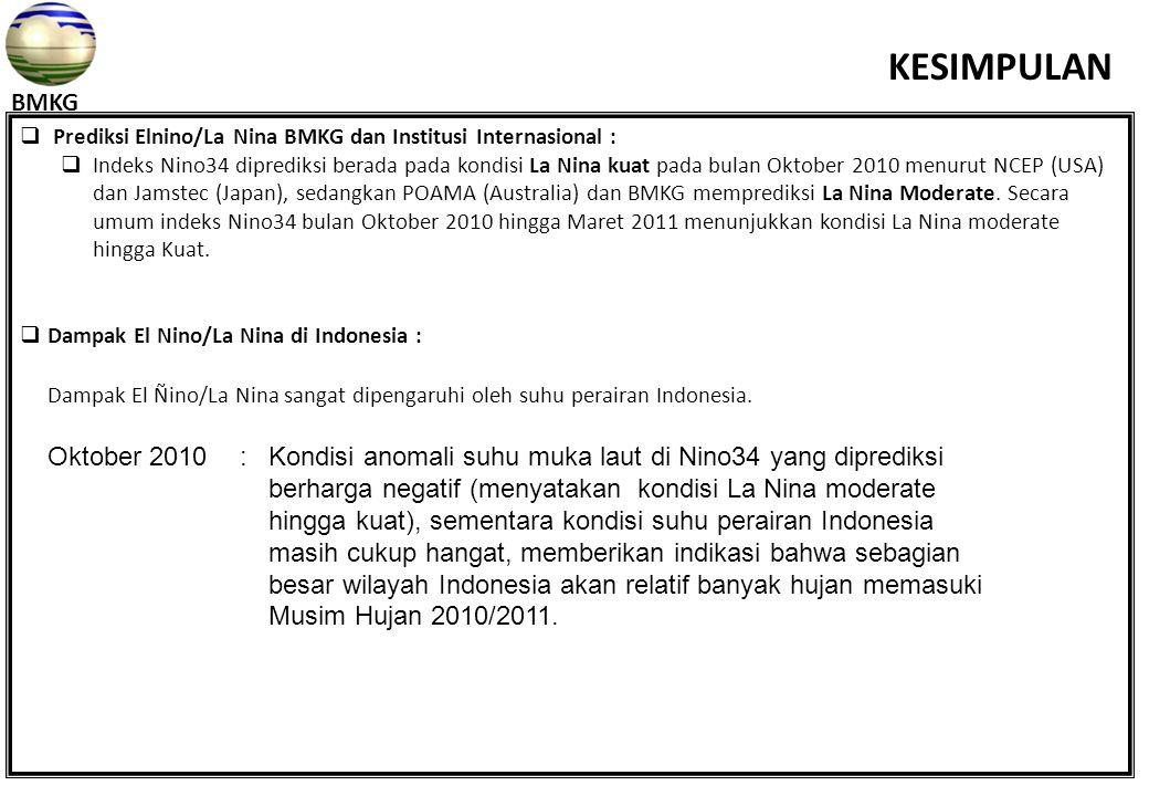  Prediksi Elnino/La Nina BMKG dan Institusi Internasional :  Indeks Nino34 diprediksi berada pada kondisi La Nina kuat pada bulan Oktober 2010 menur