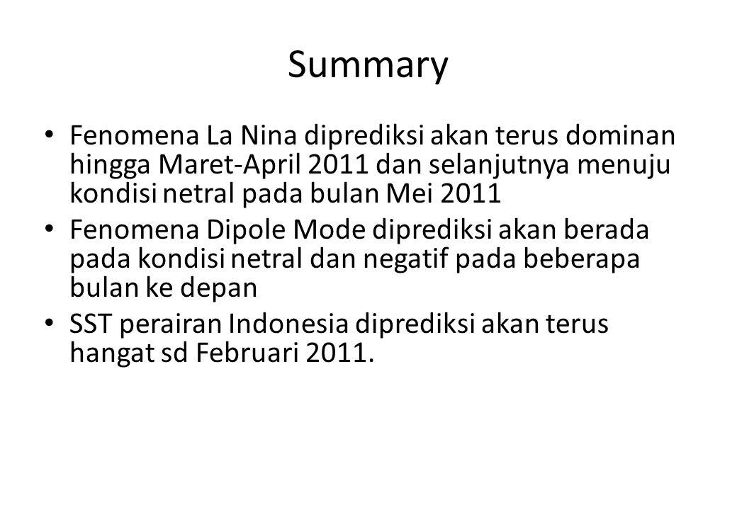 Summary Fenomena La Nina diprediksi akan terus dominan hingga Maret-April 2011 dan selanjutnya menuju kondisi netral pada bulan Mei 2011 Fenomena Dipo