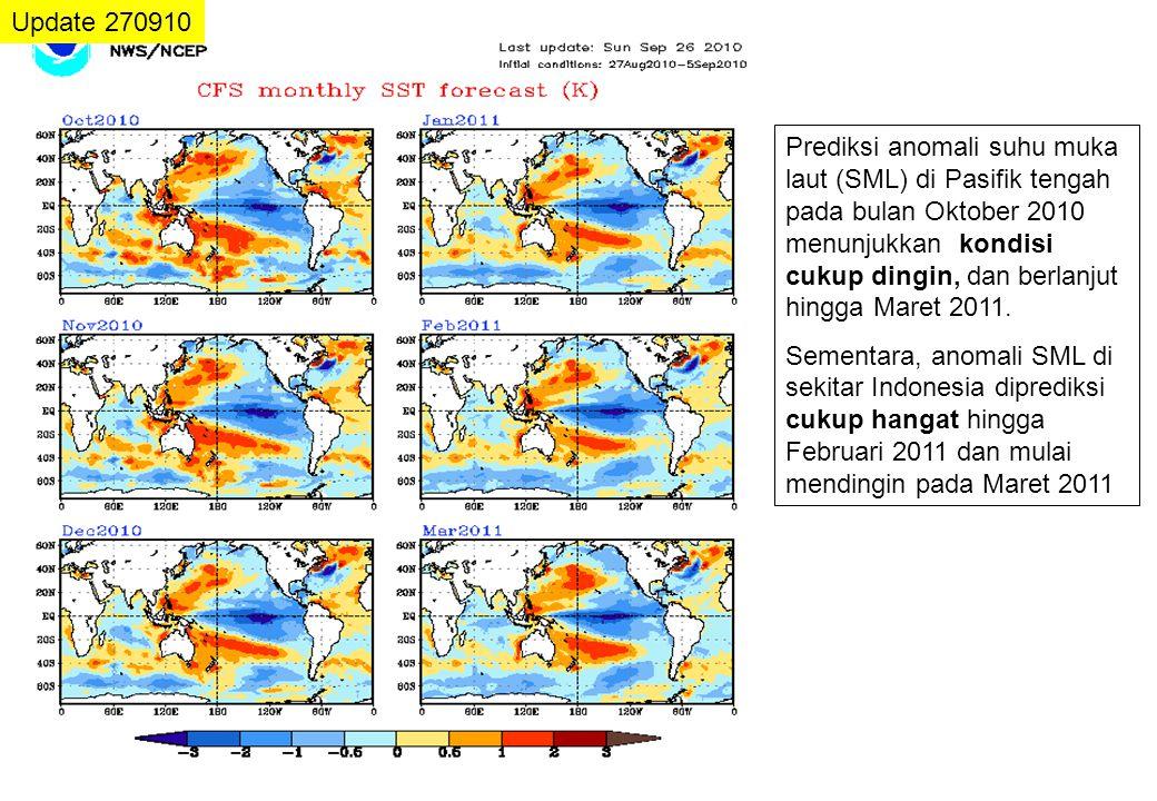 Update 270910 Prediksi anomali suhu muka laut (SML) di Pasifik tengah pada bulan Oktober 2010 menunjukkan kondisi cukup dingin, dan berlanjut hingga M