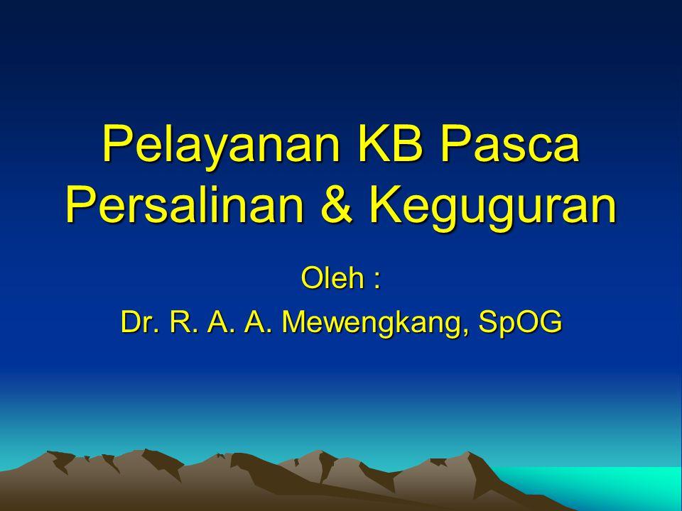 Pelayanan KB Pasca Persalinan & Keguguran Oleh : Dr. R. A. A. Mewengkang, SpOG