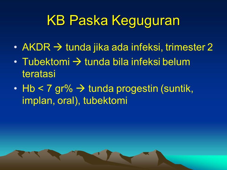 KB Paska Keguguran AKDR  tunda jika ada infeksi, trimester 2 Tubektomi  tunda bila infeksi belum teratasi Hb < 7 gr%  tunda progestin (suntik, impl