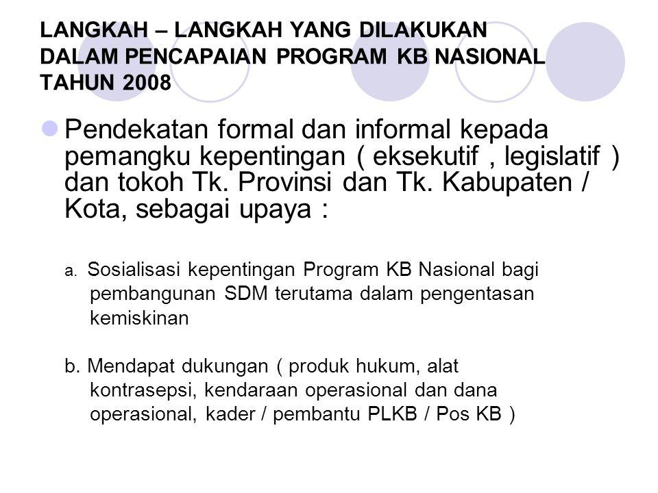LANGKAH – LANGKAH YANG DILAKUKAN DALAM PENCAPAIAN PROGRAM KB NASIONAL TAHUN 2008 Pendekatan formal dan informal kepada pemangku kepentingan ( eksekutif, legislatif ) dan tokoh Tk.