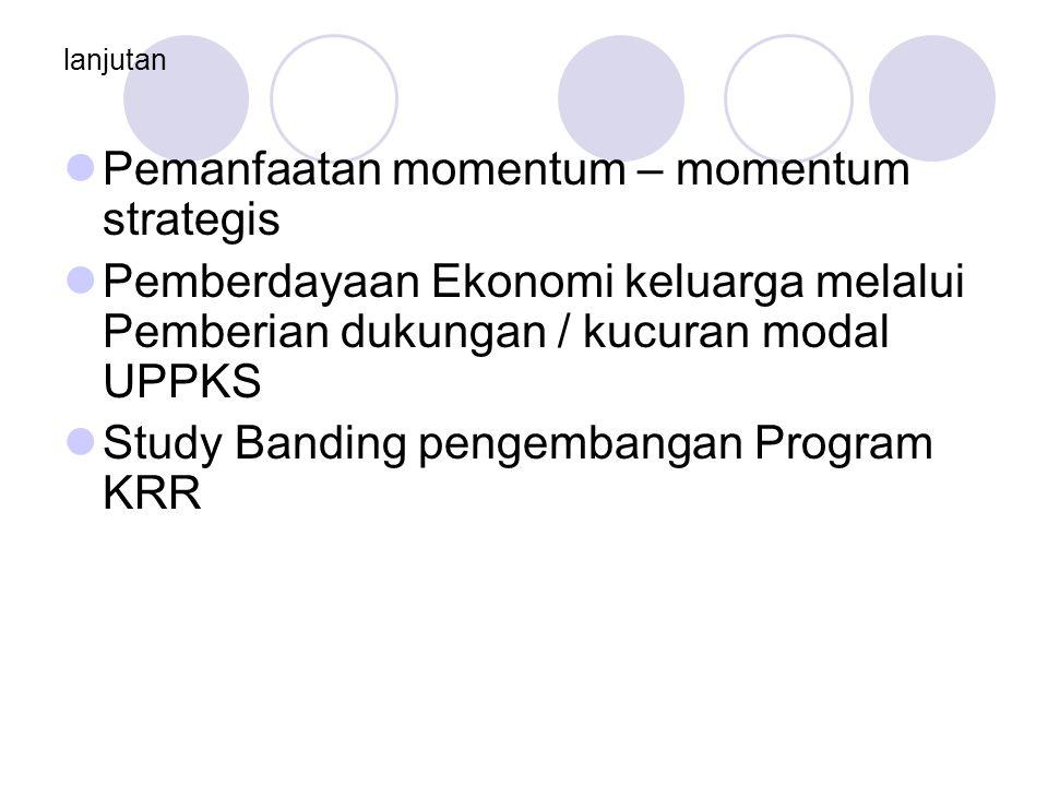 lanjutan Pemanfaatan momentum – momentum strategis Pemberdayaan Ekonomi keluarga melalui Pemberian dukungan / kucuran modal UPPKS Study Banding pengembangan Program KRR