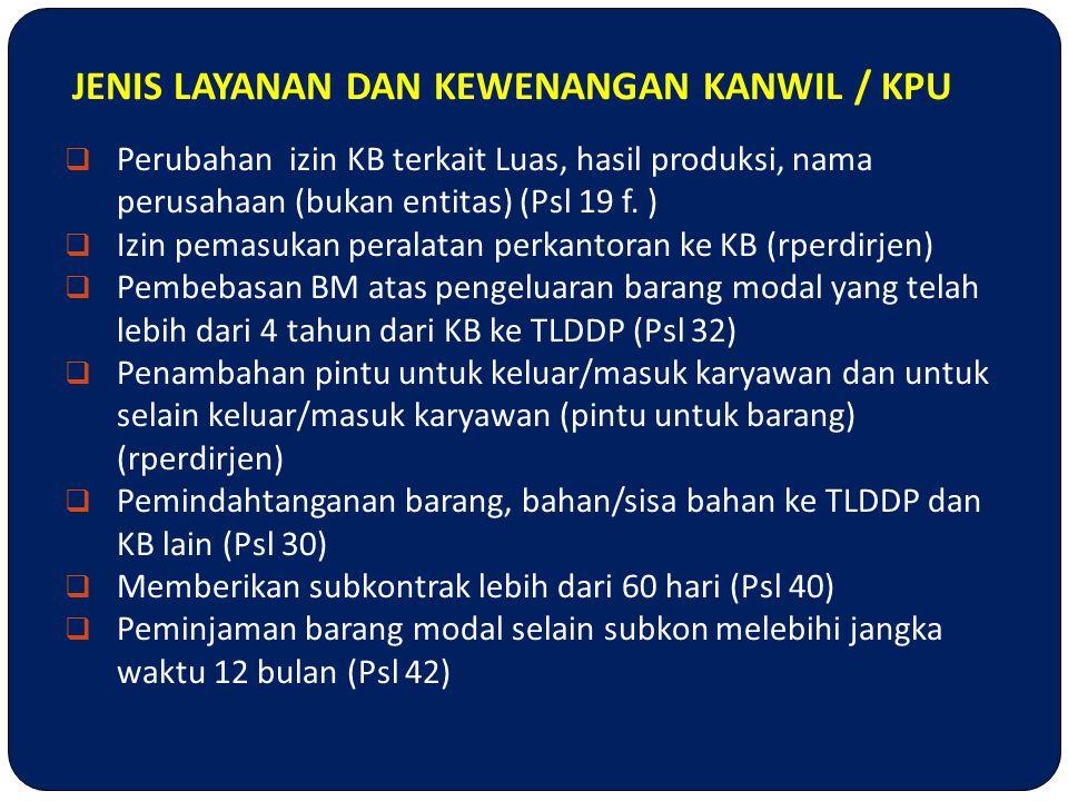 JENIS LAYANAN DAN KEWENANGAN KANWIL / KPU  Perubahan izin KB terkait Luas, hasil produksi, nama perusahaan (bukan entitas) (Psl 19 f. )  Izin pemasu