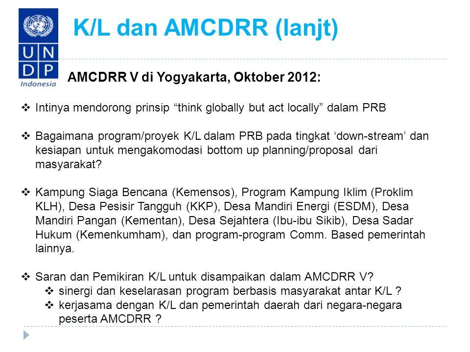 · AMCDRR V di Yogyakarta, Oktober 2012:  Intinya mendorong prinsip think globally but act locally dalam PRB  Bagaimana program/proyek K/L dalam PRB pada tingkat 'down-stream' dan kesiapan untuk mengakomodasi bottom up planning/proposal dari masyarakat.
