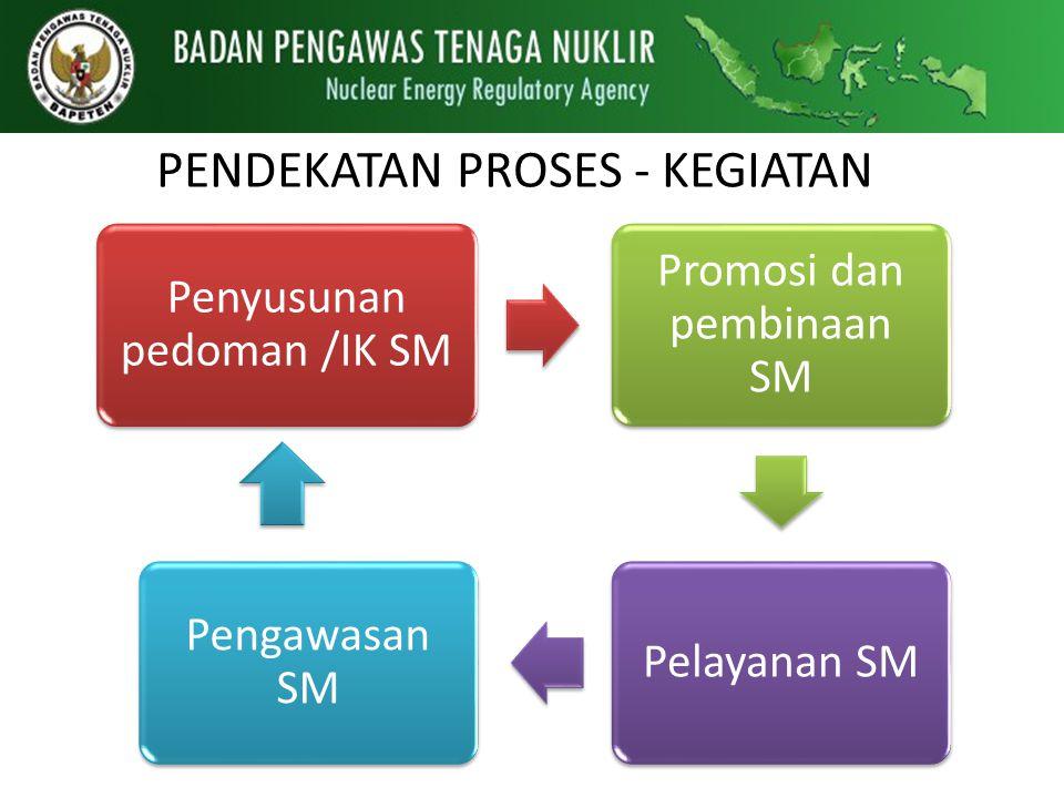 PENDEKATAN PROSES - KEGIATAN Penyusunan pedoman /IK SM Promosi dan pembinaan SM Pelayanan SM Pengawasan SM