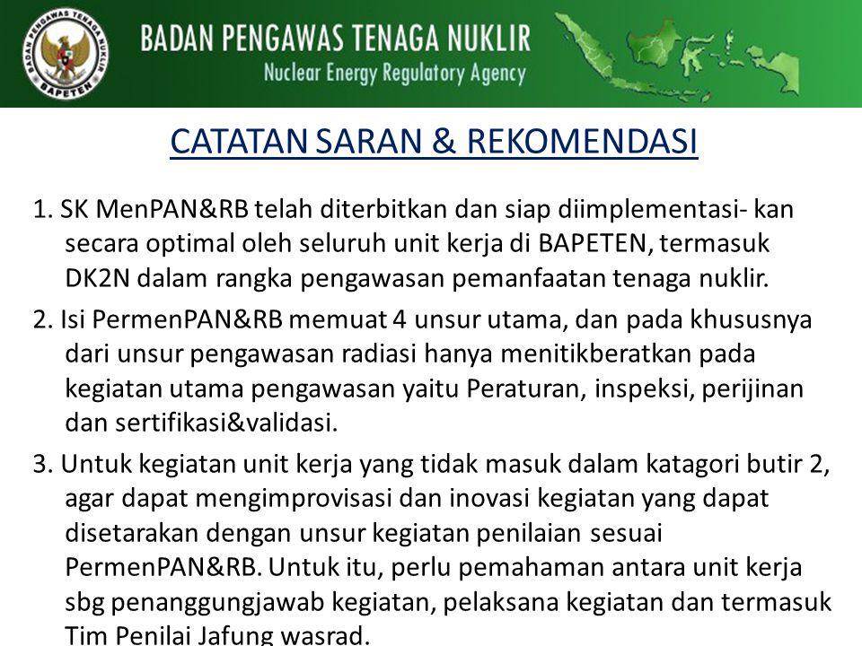 CATATAN SARAN & REKOMENDASI 1. SK MenPAN&RB telah diterbitkan dan siap diimplementasi- kan secara optimal oleh seluruh unit kerja di BAPETEN, termasuk