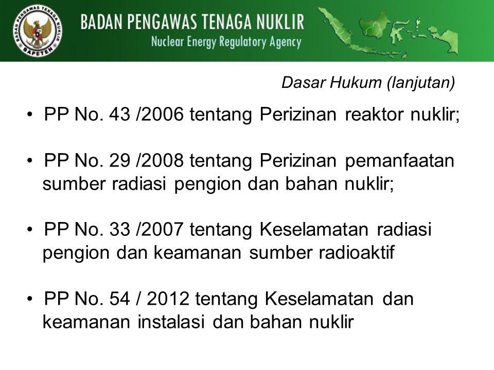 Dasar Hukum (lanjutan) PP No. 43 /2006 tentang Perizinan reaktor nuklir; PP No. 29 /2008 tentang Perizinan pemanfaatan sumber radiasi pengion dan baha