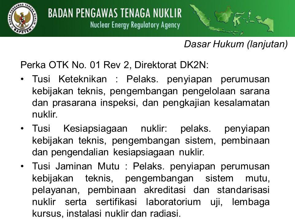 Dasar Hukum (lanjutan) Perka OTK No. 01 Rev 2, Direktorat DK2N: Tusi Keteknikan : Pelaks. penyiapan perumusan kebijakan teknis, pengembangan pengelola