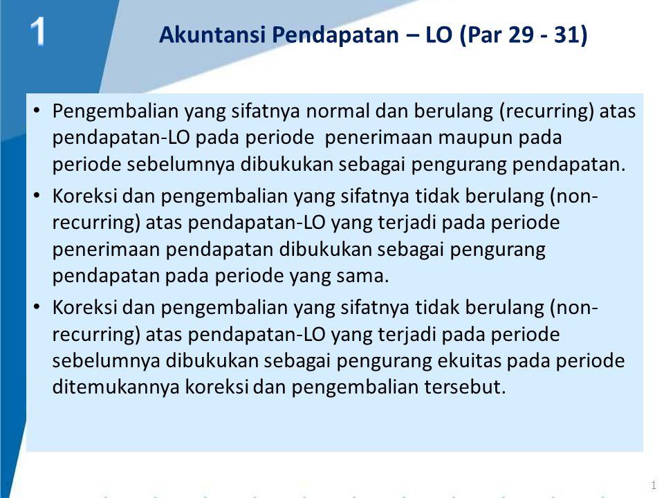 Pengembalian yang sifatnya normal dan berulang (recurring) atas pendapatan-LO pada periode penerimaan maupun pada periode sebelumnya dibukukan sebagai