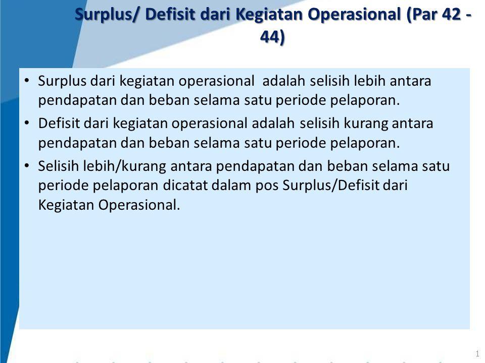 Surplus dari kegiatan operasional adalah selisih lebih antara pendapatan dan beban selama satu periode pelaporan. Defisit dari kegiatan operasional ad