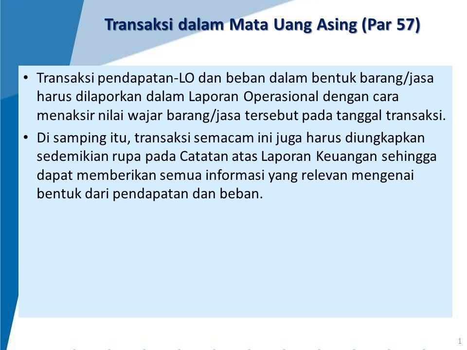 Transaksi pendapatan-LO dan beban dalam bentuk barang/jasa harus dilaporkan dalam Laporan Operasional dengan cara menaksir nilai wajar barang/jasa ter