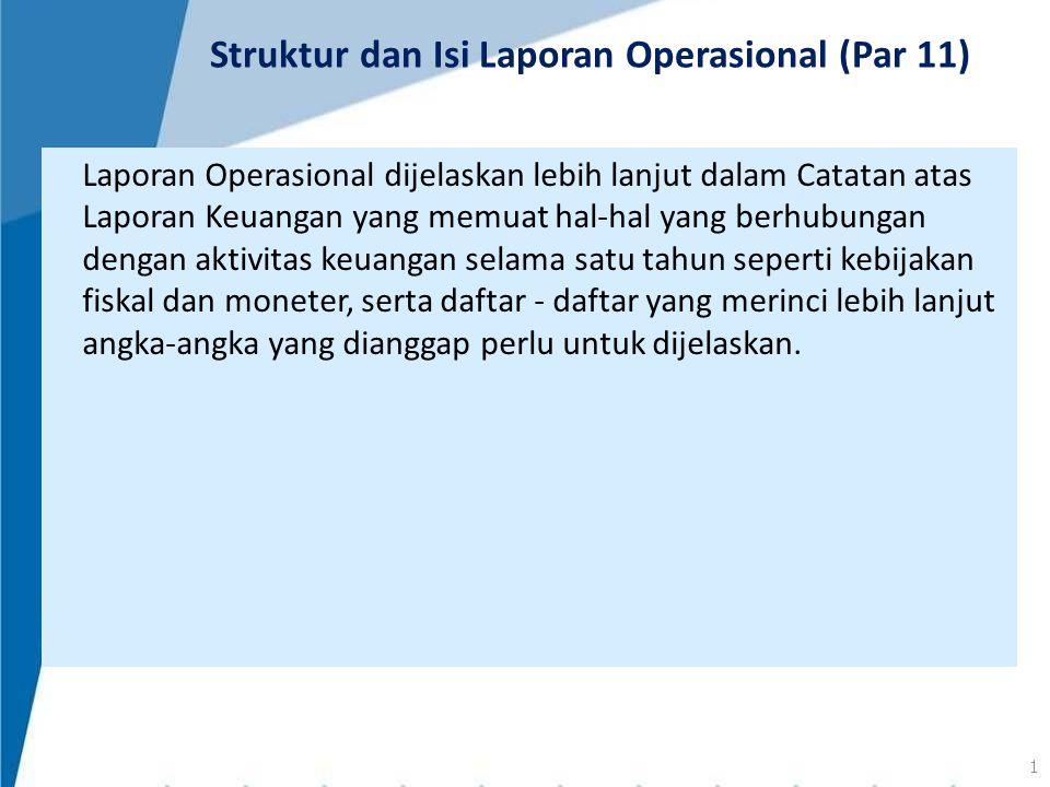 Laporan Operasional dijelaskan lebih lanjut dalam Catatan atas Laporan Keuangan yang memuat hal-hal yang berhubungan dengan aktivitas keuangan selama