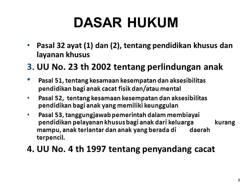 Pasal 32 ayat (1) dan (2), tentang pendidikan khusus dan layanan khusus 3.UU No. 23 th 2002 tentang perlindungan anak Pasal 51, tentang kesamaan kesem