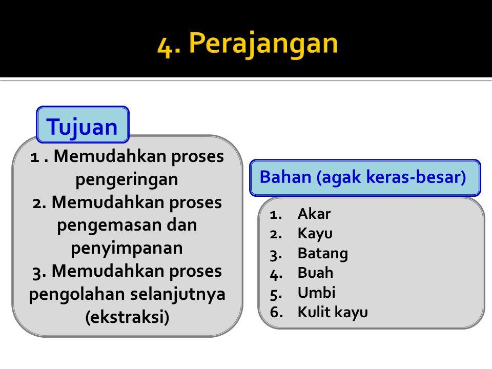 1. Memudahkan proses pengeringan 2. Memudahkan proses pengemasan dan penyimpanan 3. Memudahkan proses pengolahan selanjutnya (ekstraksi) Tujuan 1.Akar