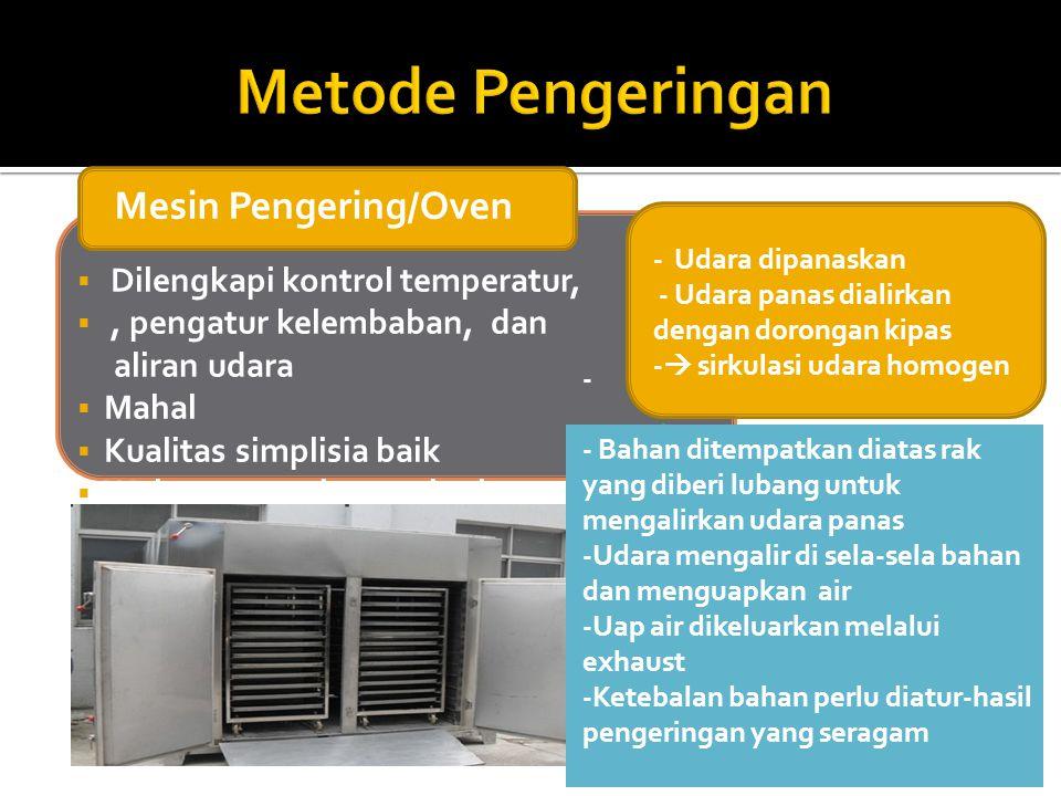 Mesin Pengering/Oven  Dilengkapi kontrol temperatur, , pengatur kelembaban, dan aliran udara  Mahal  Kualitas simplisia baik  Waktu pengeringan s