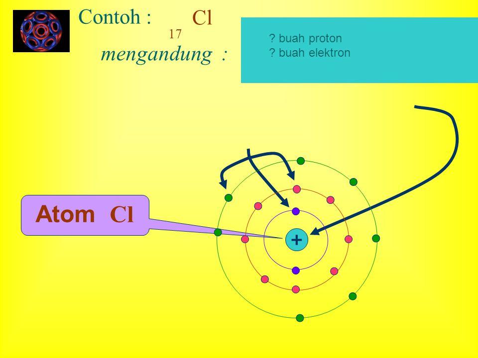 Cl 17 Contoh : mengandung : Atom Cl + ? buah proton ? buah elektron