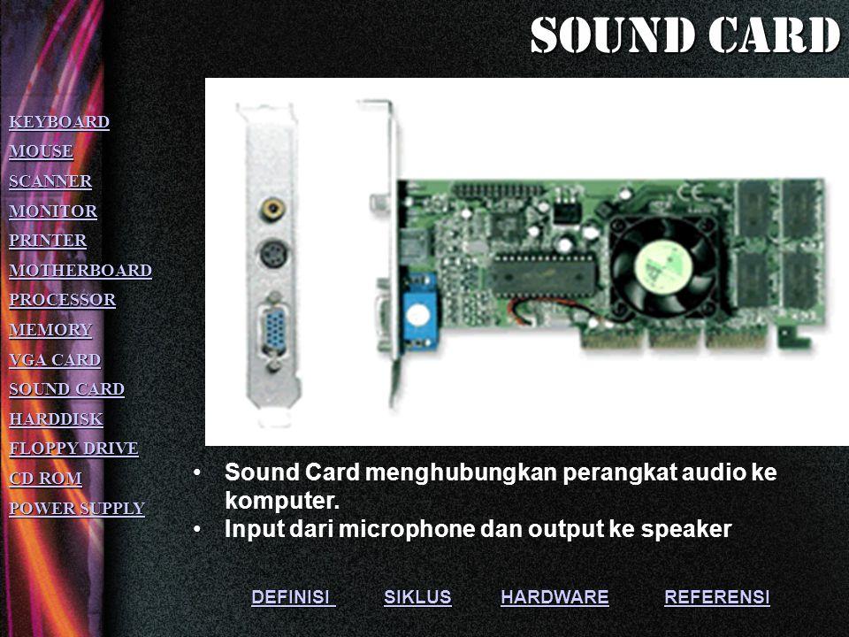 DEFINISI DEFINISI SIKLUS HARDWARE REFERENSI SIKLUSHARDWAREREFERENSI DEFINISI SIKLUSHARDWAREREFERENSI Menghubungkan antara CPU dengan monitor Semakin besar kemampuan VGA semakin bagus tampilan yang dihasilkan KEYBOARD MOUSE SCANNER MONITOR PRINTER MOTHERBOARD PROCESSOR MEMORY VGA CARD VGA CARD SOUND CARD SOUND CARD HARDDISK FLOPPY DRIVE FLOPPY DRIVE CD ROM CD ROM POWER SUPPLY POWER SUPPLY Vga card