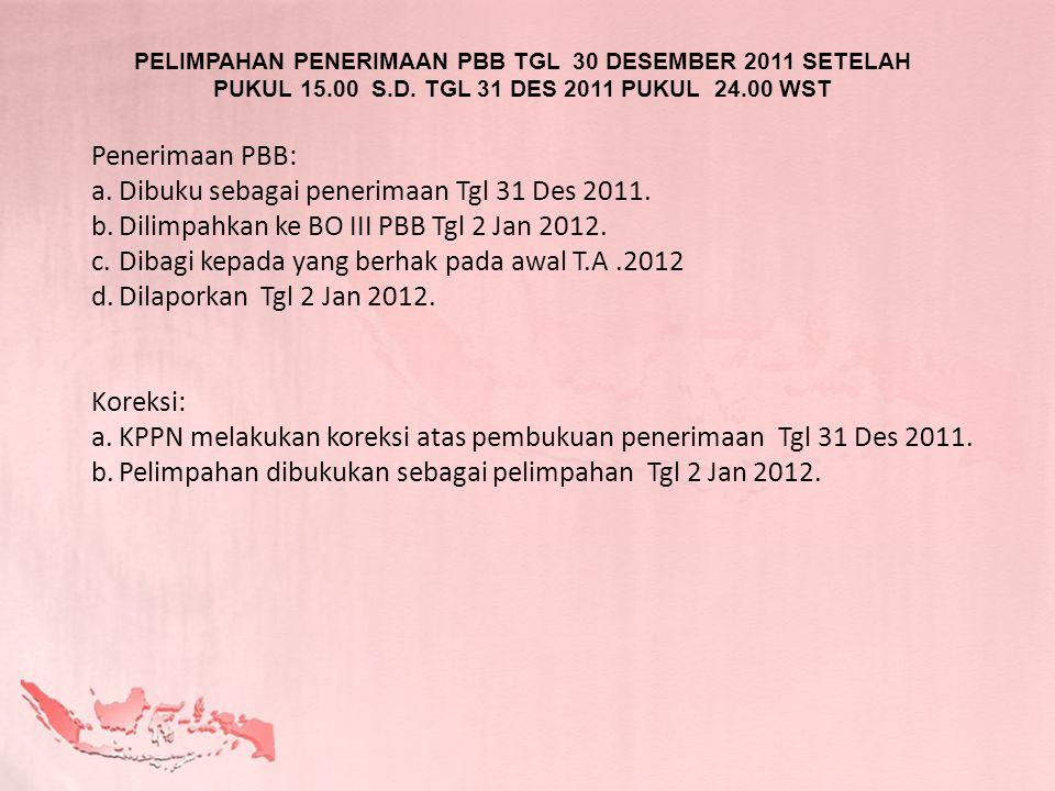 PELIMPAHAN PENERIMAAN PBB TGL 30 DESEMBER 2011 SETELAH PUKUL 15.00 S.D. TGL 31 DES 2011 PUKUL 24.00 WST Penerimaan PBB: a.Dibuku sebagai penerimaan Tg