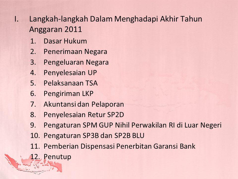 I.Langkah-langkah Dalam Menghadapi Akhir Tahun Anggaran 2011 1.Dasar Hukum 2.Penerimaan Negara 3.Pengeluaran Negara 4.Penyelesaian UP 5.Pelaksanaan TS