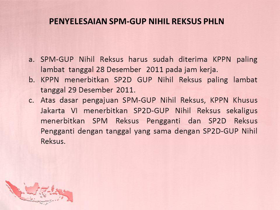 a.SPM-GUP Nihil Reksus harus sudah diterima KPPN paling lambat tanggal 28 Desember 2011 pada jam kerja. b.KPPN menerbitkan SP2D GUP Nihil Reksus palin