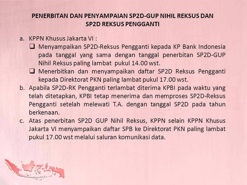 a.KPPN Khusus Jakarta VI :  Menyampaikan SP2D-Reksus Pengganti kepada KP Bank Indonesia pada tanggal yang sama dengan tanggal penerbitan SP2D-GUP Nih