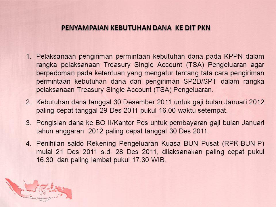 1.Pelaksanaan pengiriman permintaan kebutuhan dana pada KPPN dalam rangka pelaksanaan Treasury Single Account (TSA) Pengeluaran agar berpedoman pada k