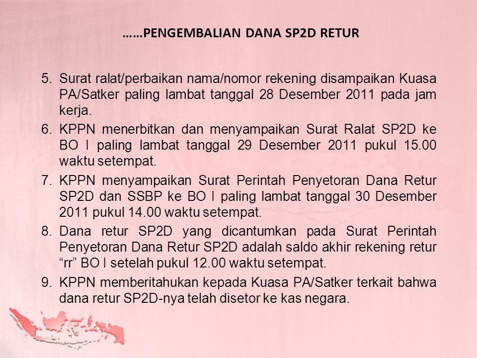 ……PENGEMBALIAN DANA SP2D RETUR 5.Surat ralat/perbaikan nama/nomor rekening disampaikan Kuasa PA/Satker paling lambat tanggal 28 Desember 2011 pada jam