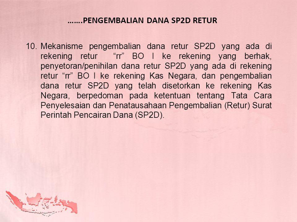 "…….PENGEMBALIAN DANA SP2D RETUR 10.Mekanisme pengembalian dana retur SP2D yang ada di rekening retur ""rr"" BO I ke rekening yang berhak, penyetoran/pen"