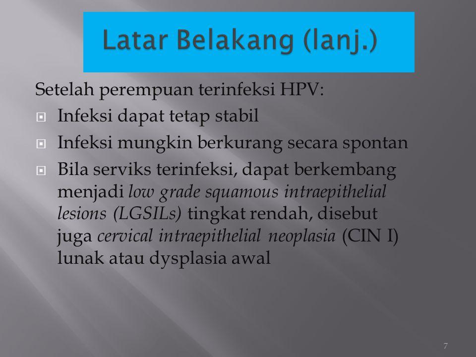 Setelah perempuan terinfeksi HPV:  Infeksi dapat tetap stabil  Infeksi mungkin berkurang secara spontan  Bila serviks terinfeksi, dapat berkembang