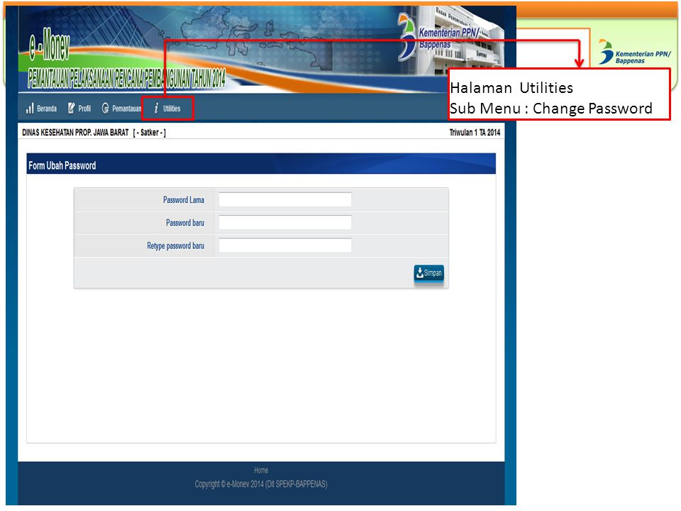 Halaman Utilities Sub Menu : Change Password