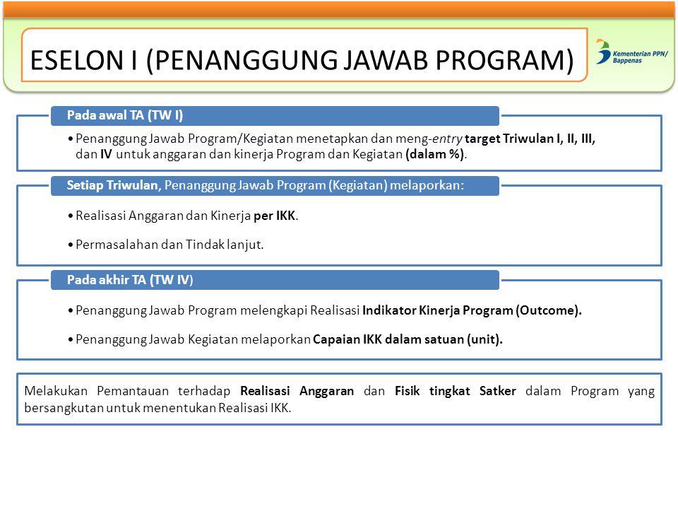 ESELON I (PENANGGUNG JAWAB PROGRAM) Penanggung Jawab Program/Kegiatan menetapkan dan meng-entry target Triwulan I, II, III, dan IV untuk anggaran dan