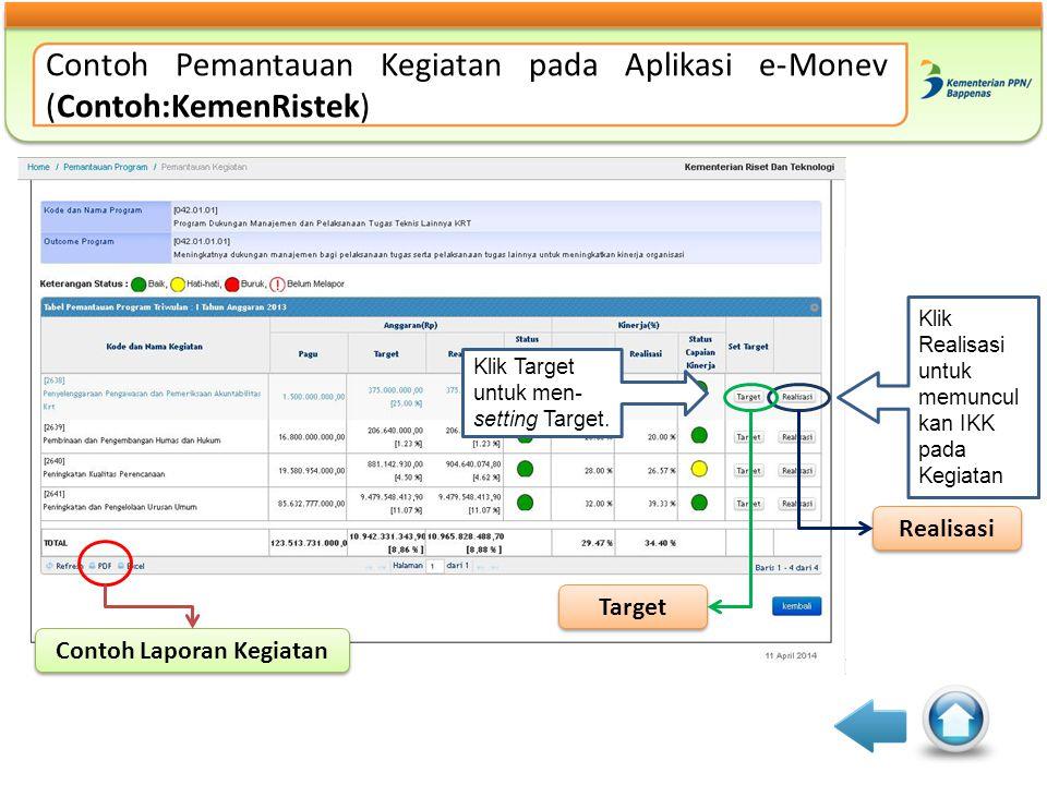 Contoh Pemantauan Kegiatan pada Aplikasi e-Monev (Contoh:KemenRistek) Contoh Laporan Kegiatan Target Realisasi Klik Target untuk men- setting Target.