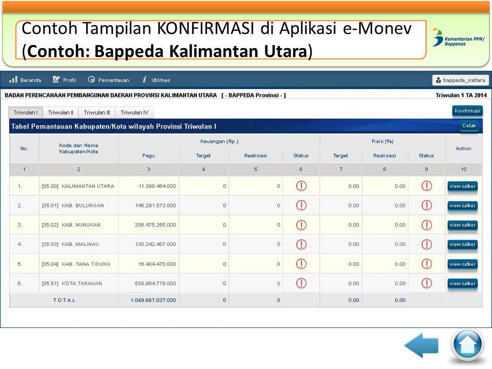 Contoh Tampilan KONFIRMASI di Aplikasi e-Monev (Contoh: Bappeda Kalimantan Utara)