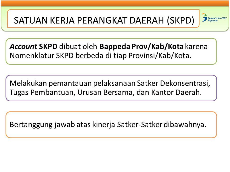 SATUAN KERJA PERANGKAT DAERAH (SKPD) Account SKPD dibuat oleh Bappeda Prov/Kab/Kota karena Nomenklatur SKPD berbeda di tiap Provinsi/Kab/Kota. Melakuk